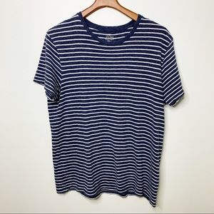 J. CREW Blue Striped Field Knit Cotton Tee Large